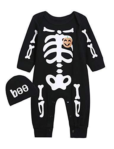 Kostüm Kleinkind Jungen Lustige - Catpapa Baby Jungen Halloween Kürbis Strampler Totenkopf Skelett Kostüm Overall mit Mütze Gr. 12-18 Monate, Schwarz
