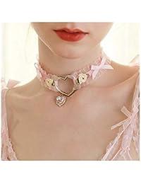 chenyou Harajuku Suave Loli Corazón De La Muchacha Hecha A Mano Arco Retro Rose Accesorios Collar 35cm Mujer niña para (Metal Color : Pink)