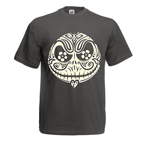 Kostüme Diy Superhelden Hund (Männer T-Shirt Das Schädel-Gesicht - Der Alptraum - gruselige Halloween-Nacht (Large Graphit)