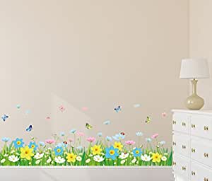 Amazon Brand - Solimo Wall Sticker for Living Room (Floral Fence with Butterflies, Ideal Size on Wall: 120 cm x 43 cm)