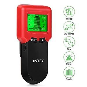 INTEY Detector de Pared 3 en 1, Multifuncional, escáner de Pared, Detector de Cables con Pantalla LCD, Detector de Cables para Tubos de Madera y Metal, Cable de alimentación CA