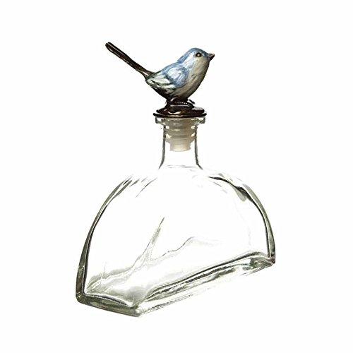 Große Retro Vintage Style Dekorative Glas Parfüm Flasche mit Bluebird Stopper–13,5cm