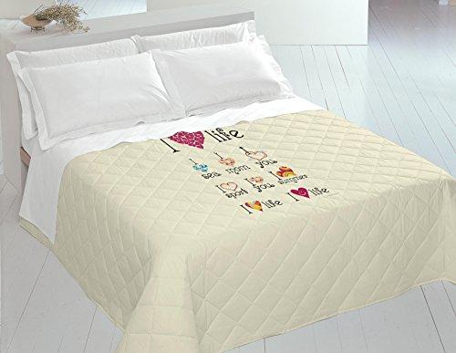 Italian Bed Linen 8058575009340 Couette Été Imprimée en Numérique Multi-I Love Life-100% Coton-pour Lit 2 Places 260 x 270 x 1 cm