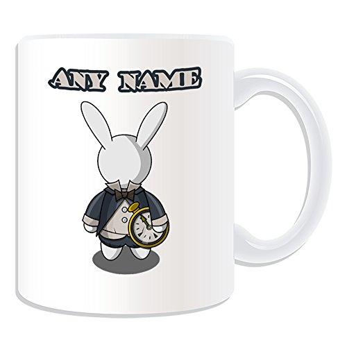chenk-Weiß Kaninchen Tasse (Märchen Design Thema, weiß)-alle Nachricht/Name auf Ihre einzigartige-Alice im Wunderland ()