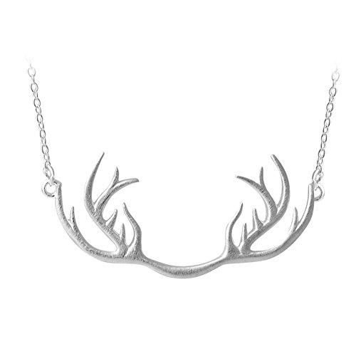 Helen de Lete innovador astas de ciervo plata de ley gargantilla collar