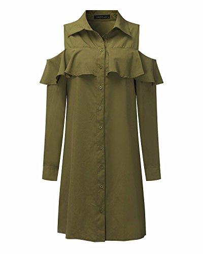 StyleDome Femme Chemise Robe Longue Epaule Nue Casual Lâce Tunique Mini Robe Blouse Tops Haut Vert