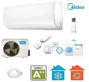 MISSION Inverter- Design- Split- Klimagerät mit WiFi / App- Steuerung inkl. 5 Meter Kupferrohrleitungen mit Quick- Connector für Räume bis 120m³ | 12.000 BTU - 3,5kW