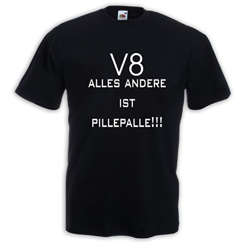 Fun T-Shirt V8 Pillepalle Pick Up US-Car Truck Oldtimer Motorsport Schwarz