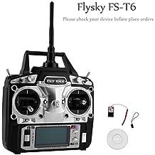 UNIKEL Flysky FS-T6 Radio Control 2.4G 6 canales Transmisor + receptor para helicóptero RC