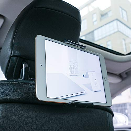 Soporte Tablet Coche, Lamicall Soporte Tablet para Reposacabezas : Soporte Base Ajustable para 4'~11' Tablets para Pad 2018 Pro 9.7, 10.5, Air Mini 1 2 3 4, Samsung Tab, Phone, Otras Tablets - Negro