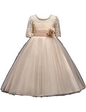 Niña Flor Vestidos Boda Dama De Honor Fiesta Cordón Tul Vestir Bowknot Comunión Paseo Baile Maxi Cumpleaños Vestir...