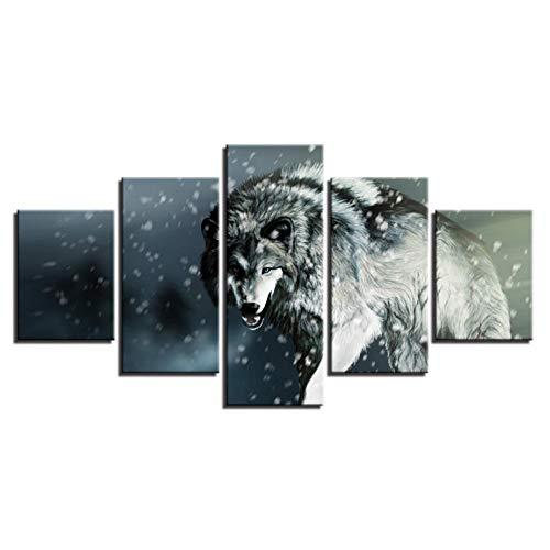 Yujzpl Kunst Drucke-5 Teiliges Kunstdruck Wand-Dekor Leinwand Drucke Malerei-5 Teiliges Leinwand Drucke-5 Teiliges Schlafzimmer Dekorative Malerei Hungriger Wolf Im Schnee -