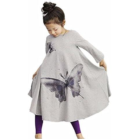 Ropa De La Muchacha Niños,RETUROM Vestido De La Muchacha Niños De Los BebÉS De La Mariposa Vestido Largo De AlgodÓN De Manga Princesa