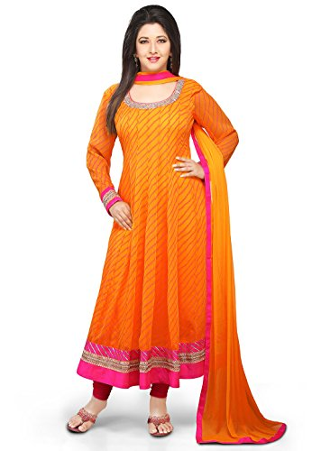 Utsav Fashion Printed Anarkali Georgette Suit in Orange Colour