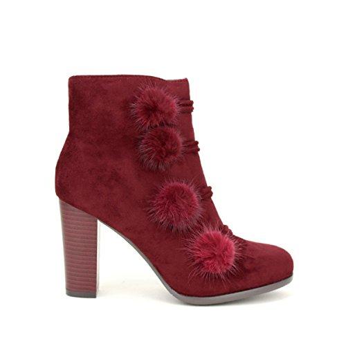 Cendriyon, Bottine bordeaux Pompons BELLOSTAR Chaussures Femme Bordeaux