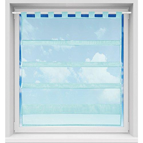 Bistrogardine in transparent mit Raffoptik, einfarbige und lichtdurchlässige Voile-Scheibengardine mit Schlaufe, in vielen verschiedenen Farben und Größen verfügbar (90 x 110 cm / türkis - petrol)