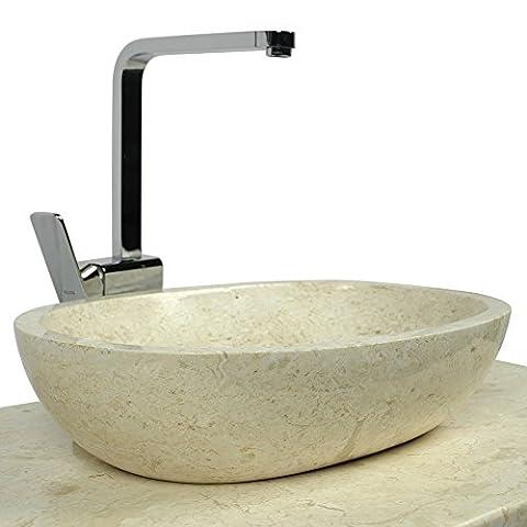 WOHNFREUDEN Marmor Waschbecken MARA 45 cm creme ✓ Naturstein Waschschale Handwaschbecken rund poliert für Bad Gäste WC ✓ inkl. techn. Zeichnung ✓ schnell & versandkostenfrei ✓