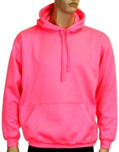 Coole-Fun-T-Shirts Herren Neon Sweatshirt mit Kapuze floureszierend, neonpink, L, 10811_neonpink_GR.L (Shirt Disco Polyester)