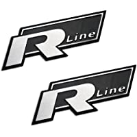 2 X (Pair/Set) R LINE Silver on Black Aluminum Auto Automobile Emblem Badge Nameplate for Volkswagen VW 181 Thing Amorok Beetle Caddy Corrado Dasher Eos Fox ...