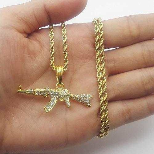 LKJH HalsketteRevolving-Pistolen-Maschinenpistole Hip Hop Gold Silber Kristall Anhänger Halskette