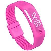 Reloj para hombre de goma LED para mujer Reloj deportivo unisex Fecha Pulsera Reloj digital (C)