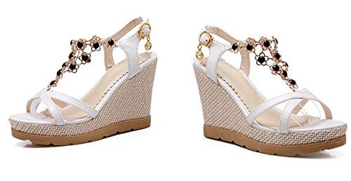 YE Frauen Open Toe Keilabsatz Plateau High Heels Damen Sommer Riemchen Sandalen Schuhe Weiß