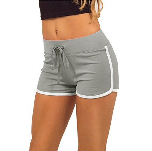 b67175433b45b Hosaire Femme Short de Sport Casual Yoga Fitness Mode Plage avec Bords  Colorés Vert Bleu Rose