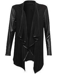 New Womens Wet Look PU Long Sleeve Open Waterfall Cardigan Top (M/L, BLACK)