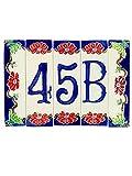 Hausnummern aus Keramik, Hausnummer Keramik Blume, Dübel Keramik NF 4.Dim: Höhe 15cm, Breite insgesamt 17,4cm