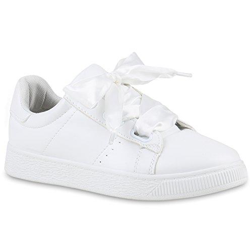 Damen Sneakers Sneakers Low Satinoptik Wedges Schuhe Wedge Weiß