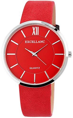 Damenuhr Rot Silber Römische Ziffern Analog Leder Armbanduhr