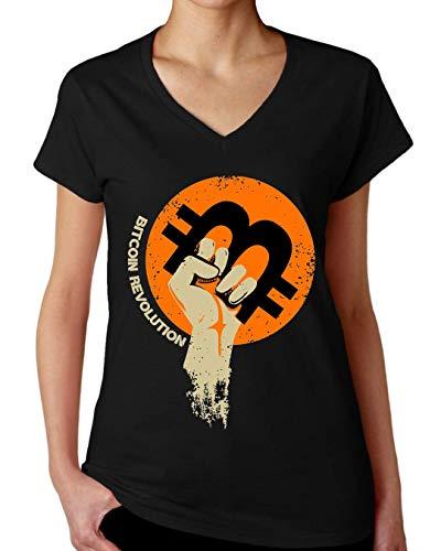 ShutUp Co. Bitcoin Revolution Camiseta con Cuello de Pico para Mujer X-Large