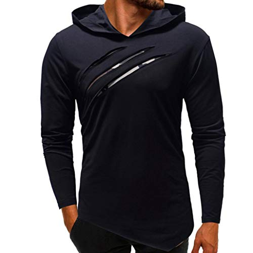 Pottoa Herren Männer Hoodie Sweatshirt, Herbst Camouflage Patchwork Langarm-Sweatshirt Freizeithemd Top Bluse