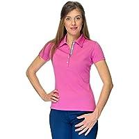Norma Mujer Golf Camiseta de 100% algodón de Pima Piquet, mujer, rosa peonía