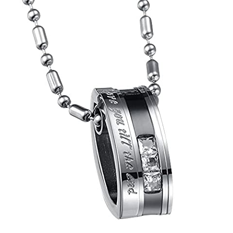 Contever® 1 pcs Lovers Mens Love You Till Be The End Stainless Steel Pendant Love Necklace, Couples Valentine's Gift with 1 pcs Free Black Velvet Bag, Chain Length :55 cm - For Male