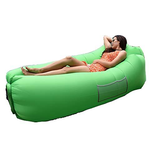 Materassi ad aria lettino gonfiabile portatile divano letto per all'aperto lounging escursionismo spiaggia pesca parco in viaggio giardino sacchi a pelo letto da campeggio impermeabile (verde)