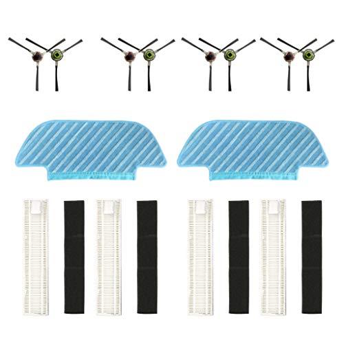 Cyond für ECOVACS DEEBOT OZMO Slim 10 Roboterstaubsauger Teile Ersatz Rag/Filter/Seitenbürste Staubsauger Kehrmaschine Saugroboter Bodenkehrer Vacuum Cleaner Ersatzteil Set (E) -