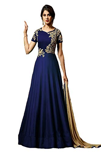 Style Amaze brings Women\'s fox Georgette with Embroidery works+Stone Embroidered Semi-Stitched Anarkali (Blue Color Mugdha 24414 blue)