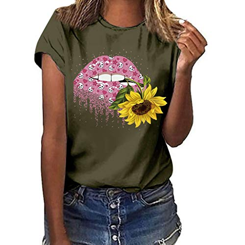 erteile, Sommer Frauen Große Größe Casual Sonnenblume Drucken T-Shirt Rundhals Kurzarm lose Bluse Tops ()