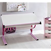 Preisvergleich für FineBuy Design Kinderschreibtisch MIKEY Holz 120 x 60 cm rosa / weiß | Mädchen Schülerschreibtisch neigungs-verstellbar | Schreibtisch Kinder höhenverstellbar