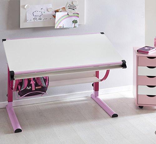 FineBuy Design Kinderschreibtisch Mikey Holz 120 x 60 cm rosa/weiß | Mädchen Schülerschreibtisch neigungs-verstellbar | Schreibtisch Kinder höhenverstellbar