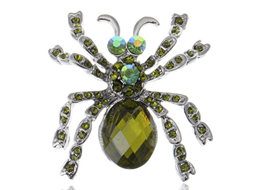 Cat Eye Kristall Smaragd Strass Hairy Spider Fashion Kostüm Jewel Pin Brosche
