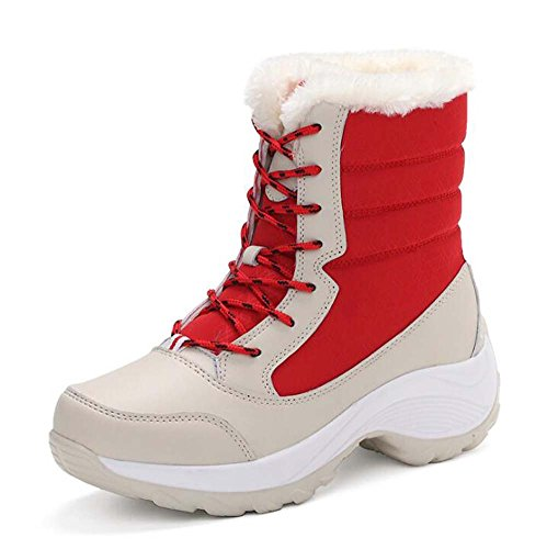 Donne Stivali da neve Tall Bootie punta rotonda Lace-up cuciture calde Color Match scarpe da trekking impermeabile antiscivolo scarpe casual all'aperto Sportive taglia Eu 35-41 ( Color : Rosso , Size : 35 )