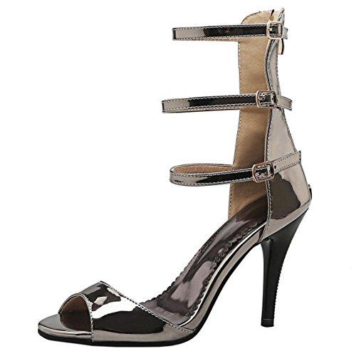TAOFFEN Mode Femmes Gladiateur Peep Toe Sandales Aiguille Talons Hauts Fermeture Eclair Chaussures De Boucle Gunmetal