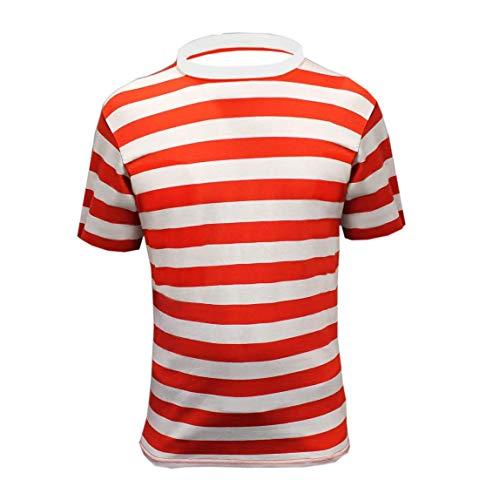 ne Herren Neu Rot Weiß Streifen Waldo Wally Kostüm Buch Tag Stag Party Karikatur Fancy Kleid Outfit ()