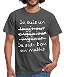 Ingénieur Bon en Maths T-Shirt Homme, M, Gris Graphite