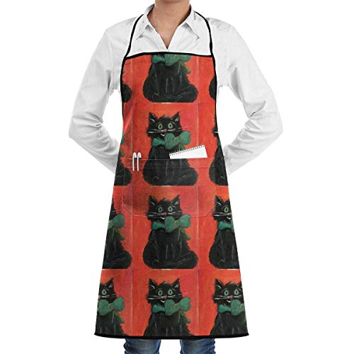 lbare Latzschürze mit Tasche, Black Cat Halloween Kitty Commercial Restaurant and Home Kitchen Schürze Neck Strap- Extra Long Ties Strong Black ()