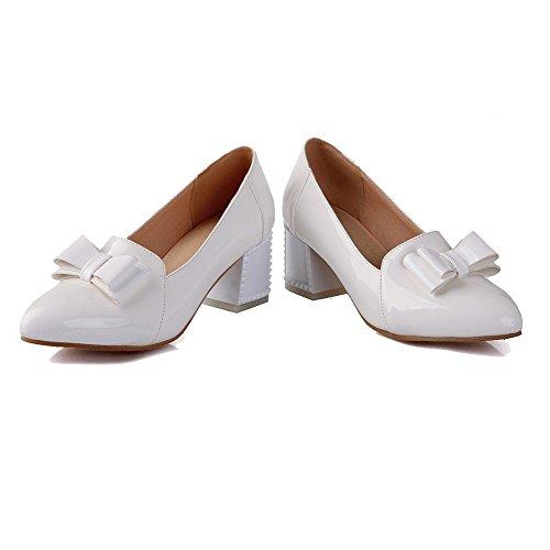 AgooLar Femme Couleur Unie Verni à Talon Correct Tire Pointu Chaussures Légeres Blanc
