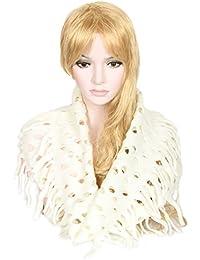 Calonice Amorino Frauen Accessoire Hals Stilvoll gestrickter, gehäkelter weißer Winter Schal aus Wolle, Schal für Frauen, eine Größe 52x0.5x47 cm (BxHxT) 24500