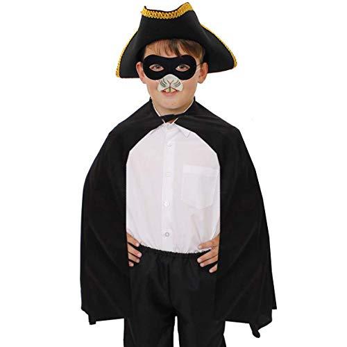 Kostüm Ratte Zubehör - ILOVEFANCYDRESS Kinder RÄUBER RATTEN KOSTÜM VERKLEIDUNG Zeichentrick = UMHANG+Piraten Hut+RATTEN GUMMINASE+Augenmaske